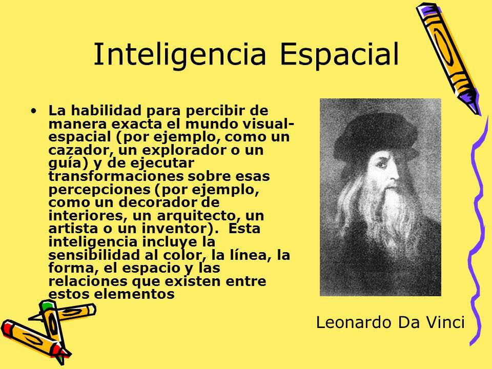 Inteligencia Espacial La habilidad para percibir de manera exacta el mundo visual- espacial (por ejemplo, como un cazador, un explorador o un guía) y