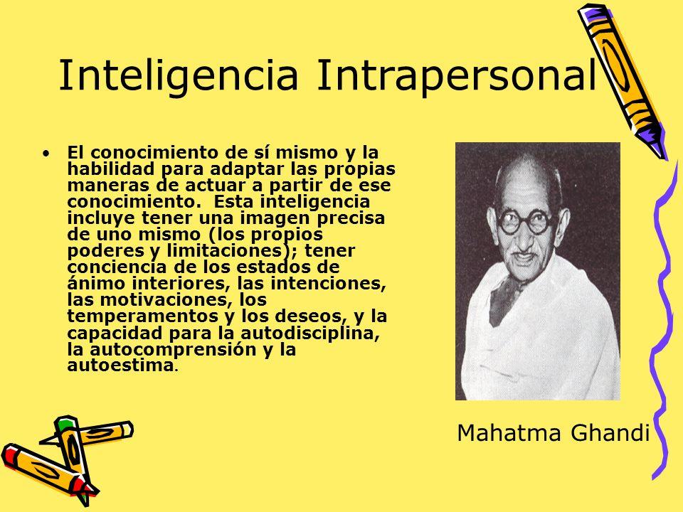 Inteligencia Intrapersonal El conocimiento de sí mismo y la habilidad para adaptar las propias maneras de actuar a partir de ese conocimiento. Esta in