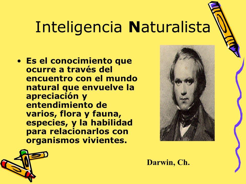 Inteligencia Naturalista Es el conocimiento que ocurre a través del encuentro con el mundo natural que envuelve la apreciación y entendimiento de vari