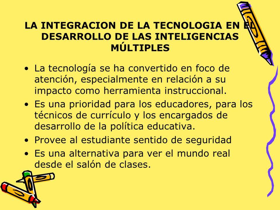 LA INTEGRACION DE LA TECNOLOGIA EN EL DESARROLLO DE LAS INTELIGENCIAS MÚLTIPLES La tecnología se ha convertido en foco de atención, especialmente en r