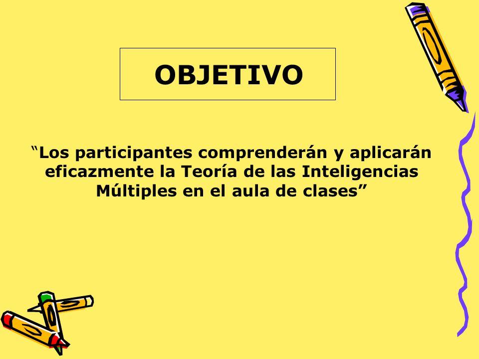 OBJETIVO Los participantes comprenderán y aplicarán eficazmente la Teoría de las Inteligencias Múltiples en el aula de clases