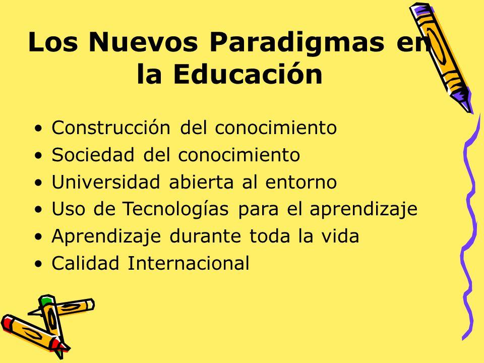 Los Nuevos Paradigmas en la Educación Construcción del conocimiento Sociedad del conocimiento Universidad abierta al entorno Uso de Tecnologías para e