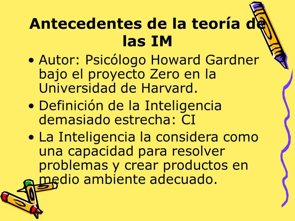 Antecedentes de la teoría de las IM Autor: Psicólogo Howard Gardner bajo el proyecto Zero en la Universidad de Harvard. Definición de la Inteligencia