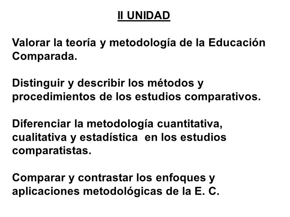 II UNIDAD Valorar la teoría y metodología de la Educación Comparada. Distinguir y describir los métodos y procedimientos de los estudios comparativos.