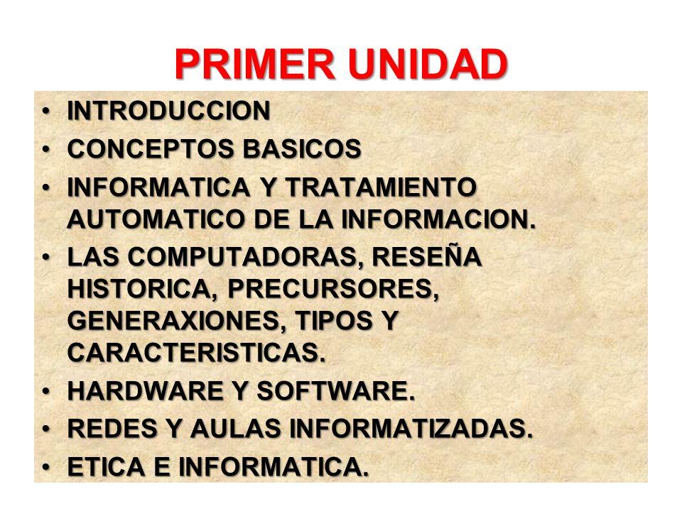 PRIMER UNIDAD INTRODUCCIONINTRODUCCION CONCEPTOS BASICOSCONCEPTOS BASICOS INFORMATICA Y TRATAMIENTO AUTOMATICO DE LA INFORMACION.INFORMATICA Y TRATAMI