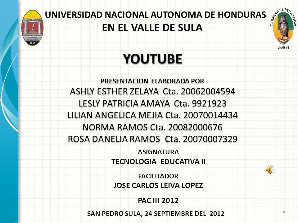 YOUTUBE PRESENTACION ELABORADA POR ASHLY ESTHER ZELAYA Cta.