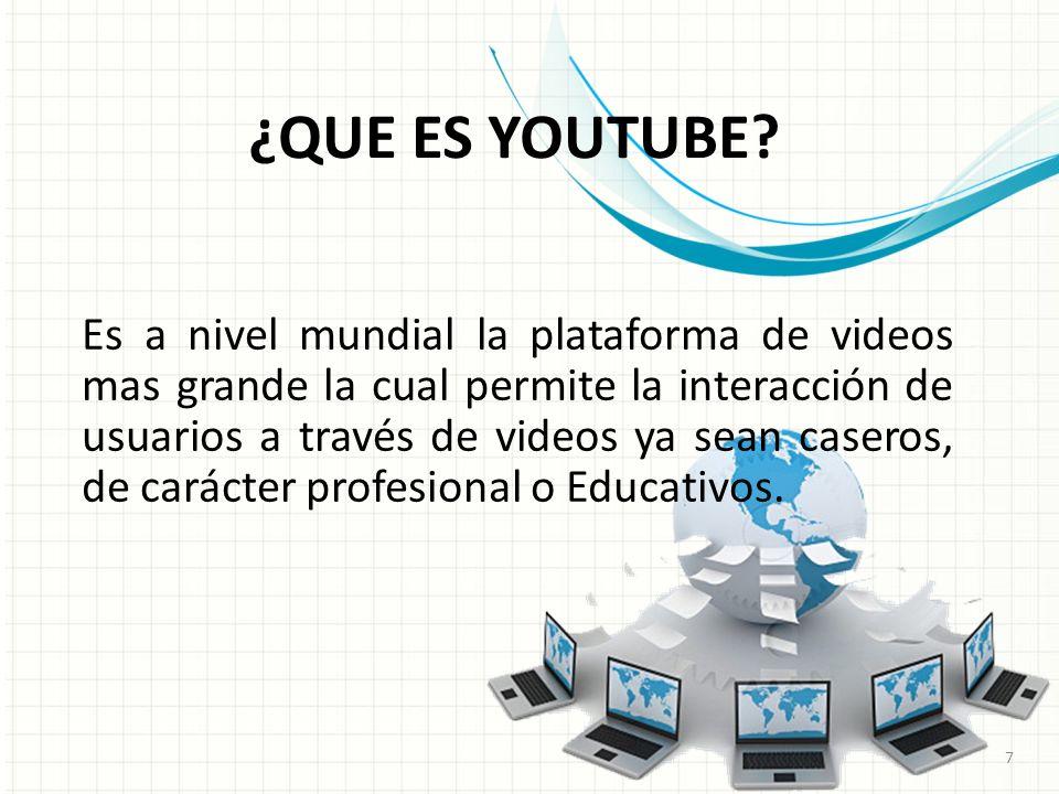 Es a nivel mundial la plataforma de videos mas grande la cual permite la interacción de usuarios a través de videos ya sean caseros, de carácter profesional o Educativos.