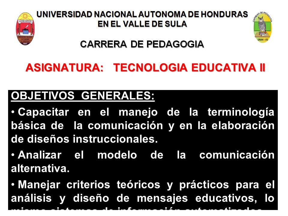 ASIGNATURA: TECNOLOGIA EDUCATIVA II OBJETIVOS GENERALES: Capacitar en el manejo de la terminología básica de la comunicación y en la elaboración de di