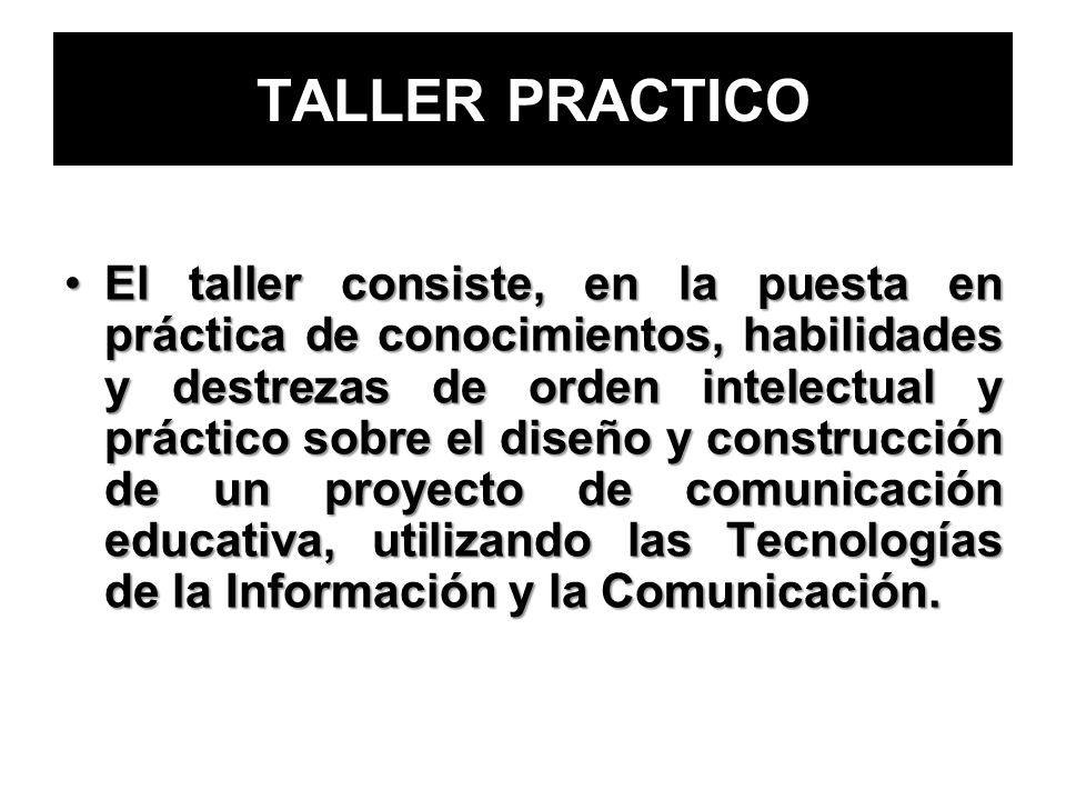 TALLER PRACTICO El taller consiste, en la puesta en práctica de conocimientos, habilidades y destrezas de orden intelectual y práctico sobre el diseño