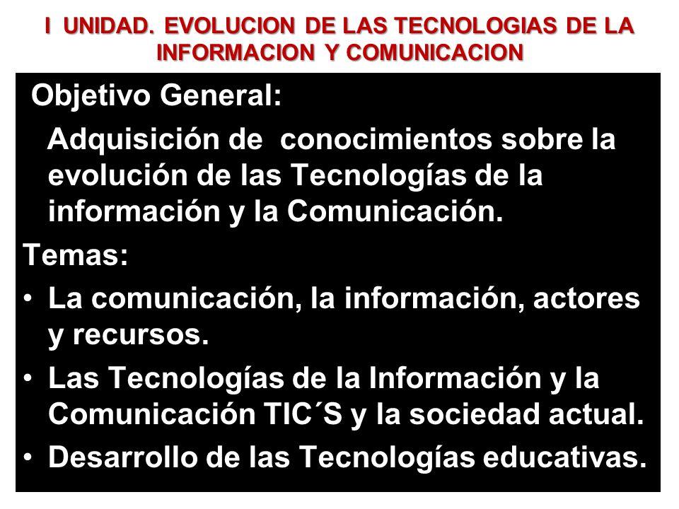 I UNIDAD. EVOLUCION DE LAS TECNOLOGIAS DE LA INFORMACION Y COMUNICACION Objetivo General: Adquisición de conocimientos sobre la evolución de las Tecno