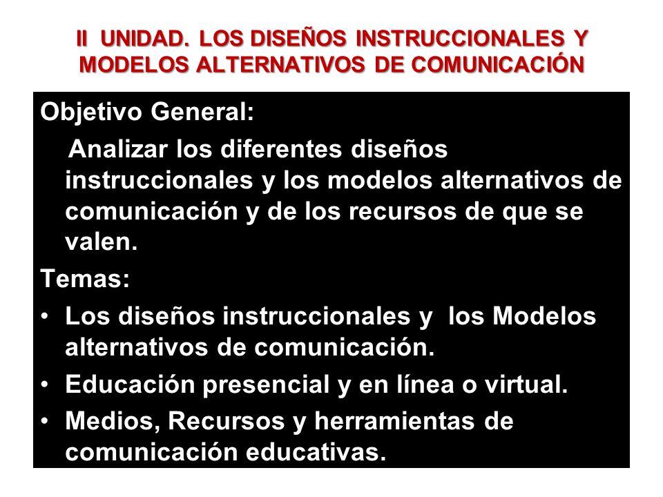 II UNIDAD. LOS DISEÑOS INSTRUCCIONALES Y MODELOS ALTERNATIVOS DE COMUNICACIÓN Objetivo General: Analizar los diferentes diseños instruccionales y los