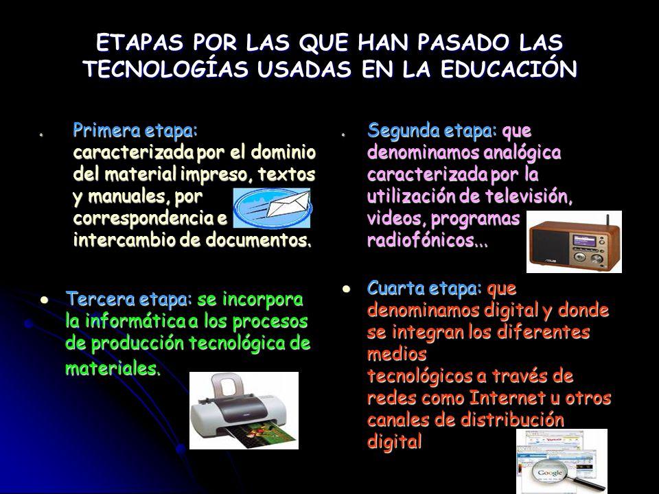 ETAPAS POR LAS QUE HAN PASADO LAS TECNOLOGÍAS USADAS EN LA EDUCACIÓN o Primera etapa: caracterizada por el dominio del material impreso, textos y manu