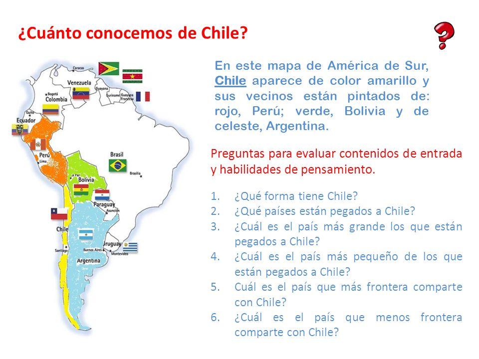 En este mapa de América de Sur, Chile aparece de color amarillo y sus vecinos están pintados de: rojo, Perú; verde, Bolivia y de celeste, Argentina. 1