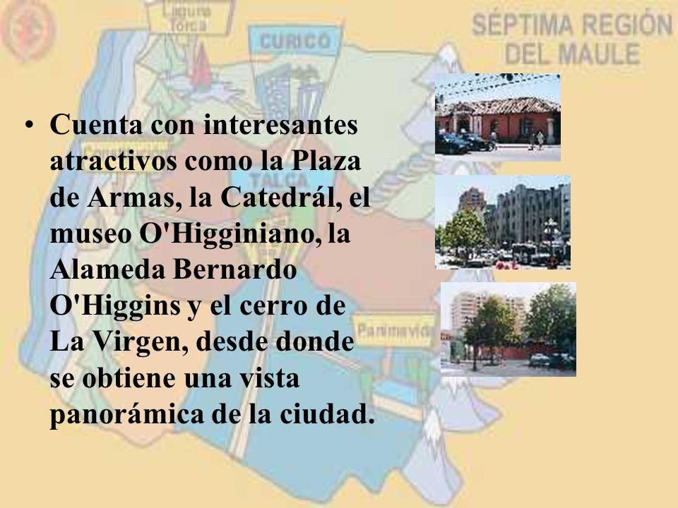Cuenta con interesantes atractivos como la Plaza de Armas, la Catedrál, el museo O'Higginiano, la Alameda Bernardo O'Higgins y el cerro de La Virgen,