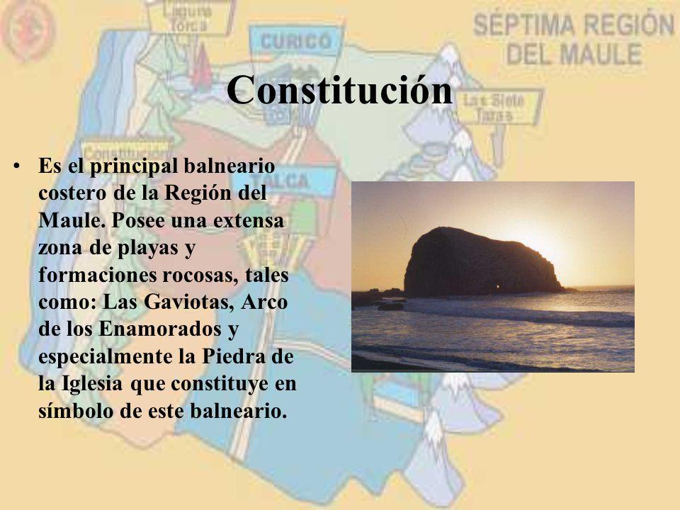 Constitución Es el principal balneario costero de la Región del Maule. Posee una extensa zona de playas y formaciones rocosas, tales como: Las Gaviota