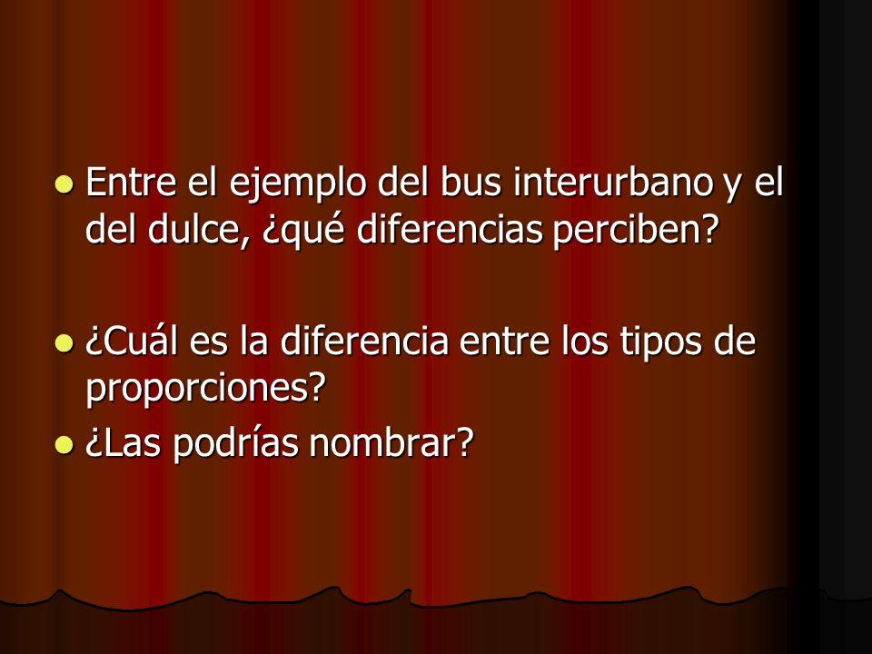 Entre el ejemplo del bus interurbano y el del dulce, ¿qué diferencias perciben? Entre el ejemplo del bus interurbano y el del dulce, ¿qué diferencias