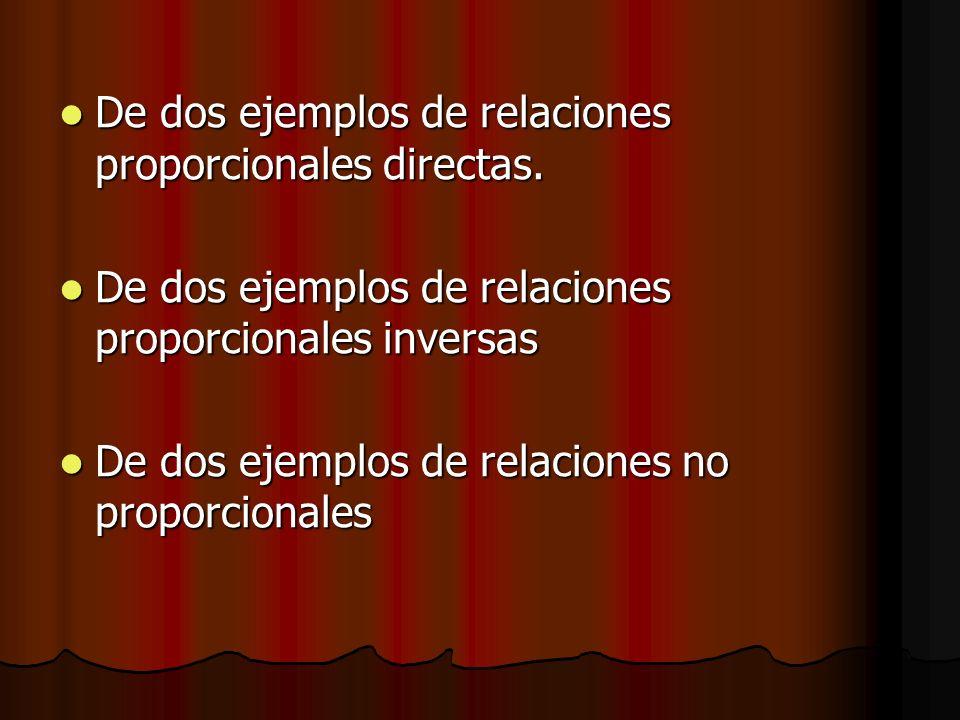 De dos ejemplos de relaciones proporcionales directas. De dos ejemplos de relaciones proporcionales directas. De dos ejemplos de relaciones proporcion