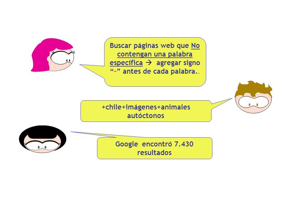 Buscar páginas web que No contengan una palabra específica agregar signo - antes de cada palabra..
