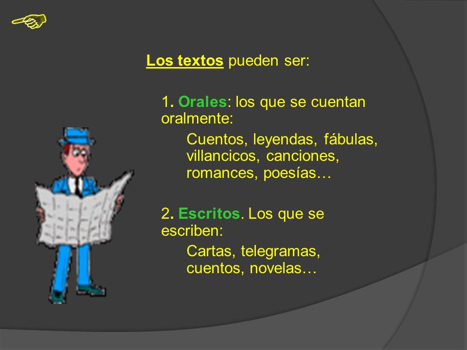 También nos comunicamos mediante el lenguaje escrito. Algunas formas de comunicación escrita son: -las noticias -las descripciones -los cuentos -las p