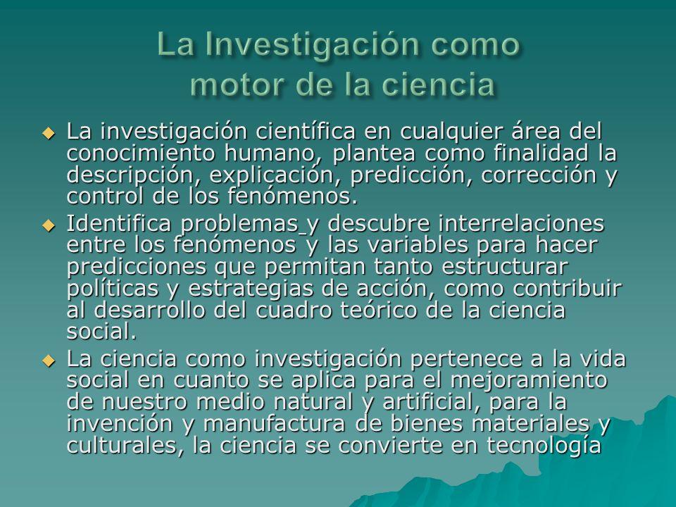 La investigación científica en cualquier área del conocimiento humano, plantea como finalidad la descripción, explicación, predicción, corrección y co