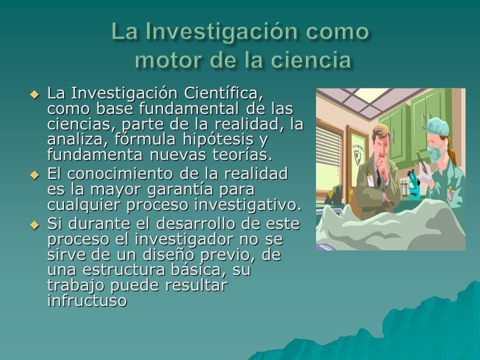 La Investigación Científica, como base fundamental de las ciencias, parte de la realidad, la analiza, fórmula hipótesis y fundamenta nuevas teorías. L