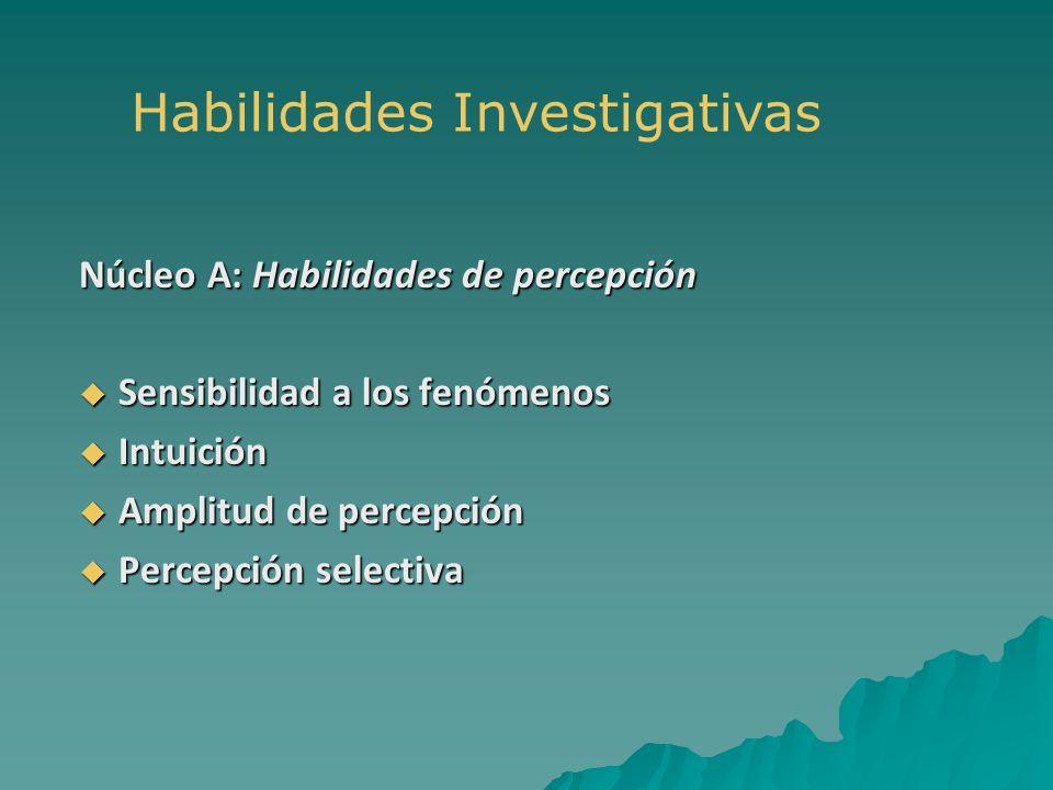 Núcleo A: Habilidades de percepción Sensibilidad a los fenómenos Sensibilidad a los fenómenos Intuición Intuición Amplitud de percepción Amplitud de p