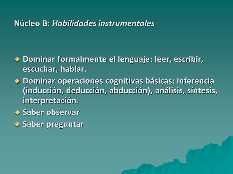 Núcleo B: Habilidades instrumentales Dominar formalmente el lenguaje: leer, escribir, escuchar, hablar. Dominar formalmente el lenguaje: leer, escribi