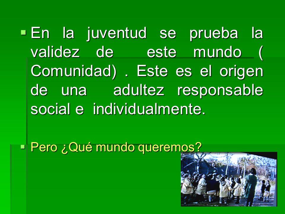 En la juventud se prueba la validez de este mundo ( Comunidad). Este es el origen de una adultez responsable social e individualmente. En la juventud