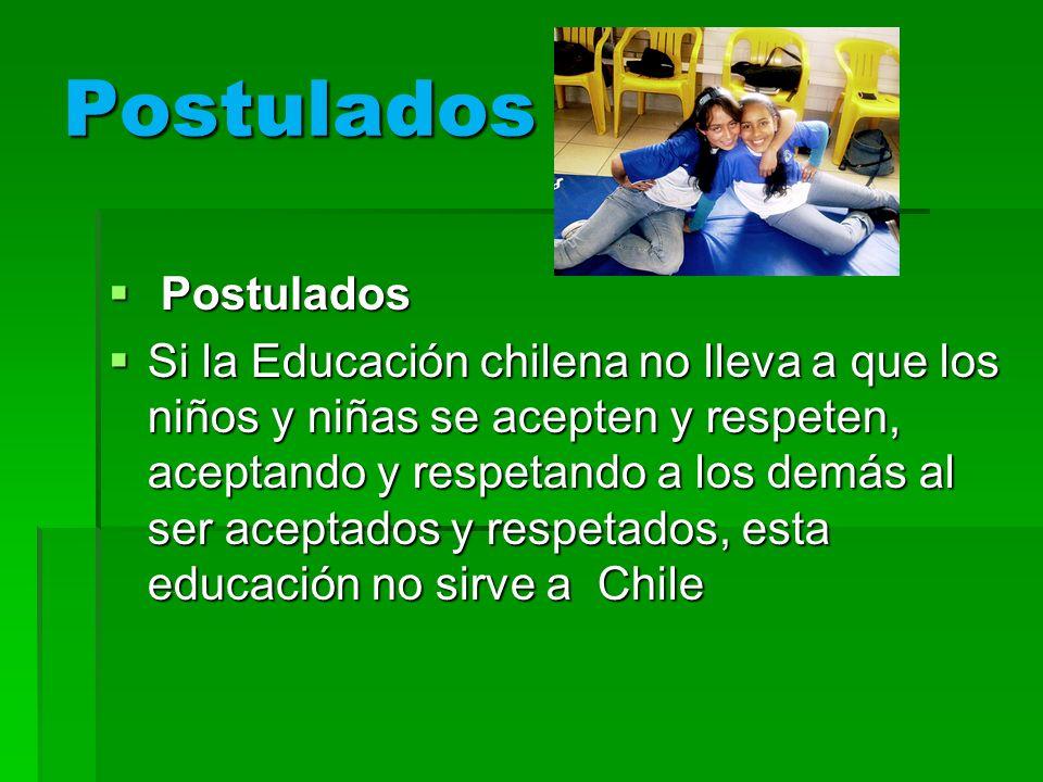 Postulados Postulados Postulados Si la Educación chilena no lleva a que los niños y niñas se acepten y respeten, aceptando y respetando a los demás al