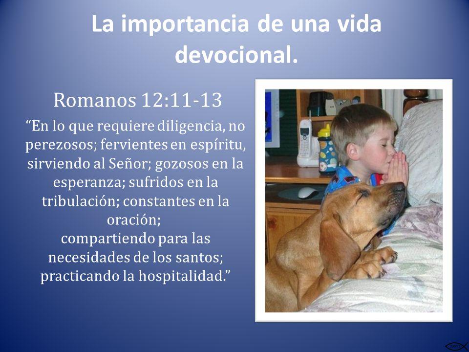 La importancia de una vida devocional. Romanos 12:11-13 En lo que requiere diligencia, no perezosos; fervientes en espíritu, sirviendo al Señor; gozos