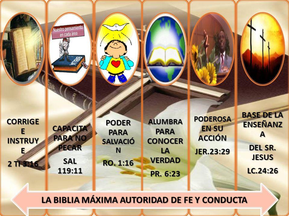CORRIGE E INSTRUY E 2 TI 3:16 CAPACITA PARA NO PECAR SAL 119:11 PODER PARA SALVACIÓ N RO. 1:16 ALUMBRA PARA CONOCER LA VERDAD PR. 6:23 PODEROSA EN SU