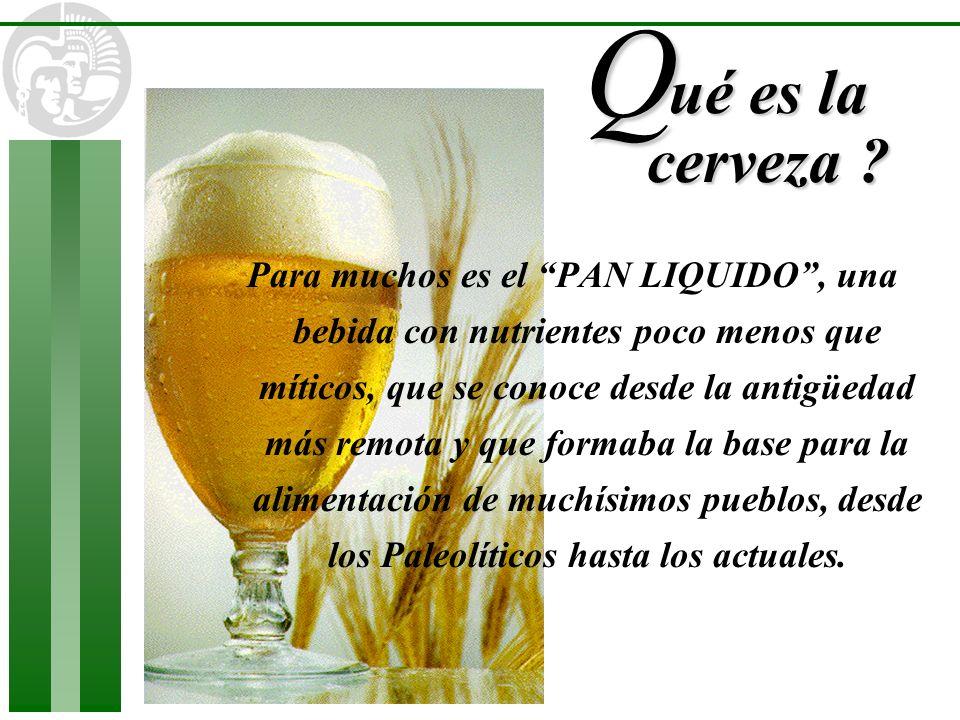 ué es la cerveza ? Q Para muchos es el PAN LIQUIDO, una bebida con nutrientes poco menos que míticos, que se conoce desde la antigüedad más remota y q