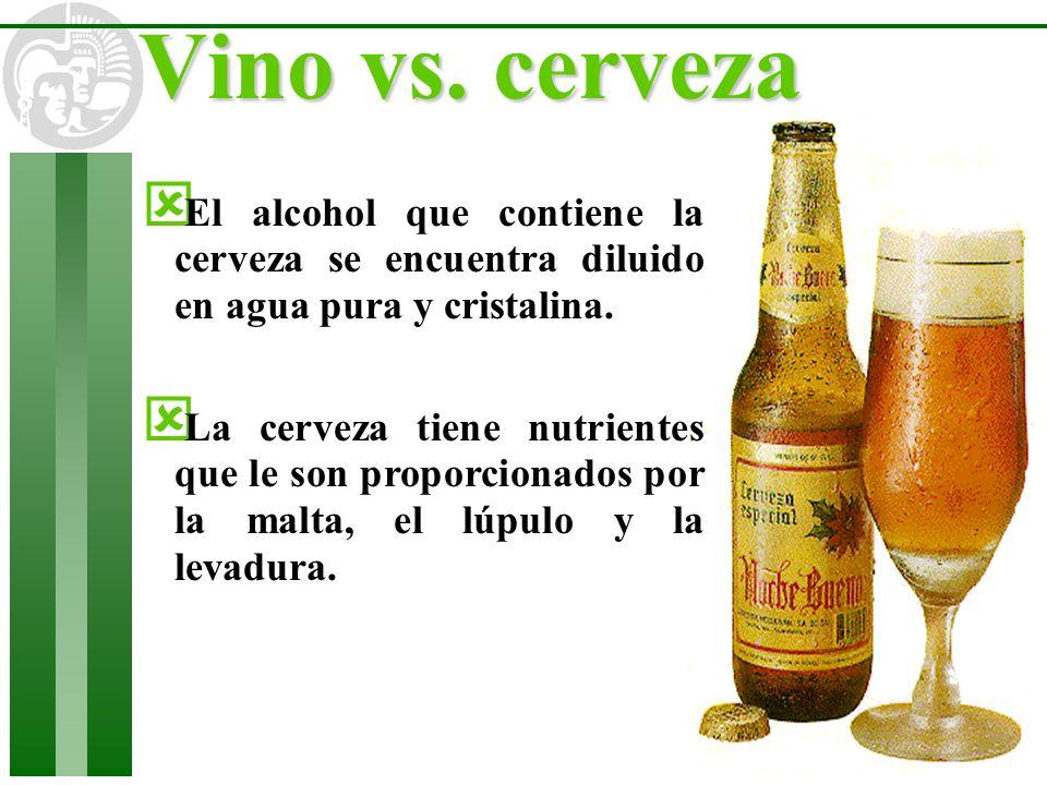 ý El alcohol que contiene la cerveza se encuentra diluido en agua pura y cristalina. ý La cerveza tiene nutrientes que le son proporcionados por la ma