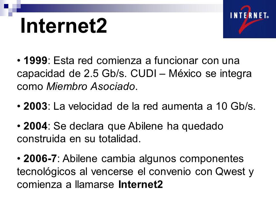 Internet2 1999: Esta red comienza a funcionar con una capacidad de 2.5 Gb/s. CUDI – México se integra como Miembro Asociado. 2003: La velocidad de la