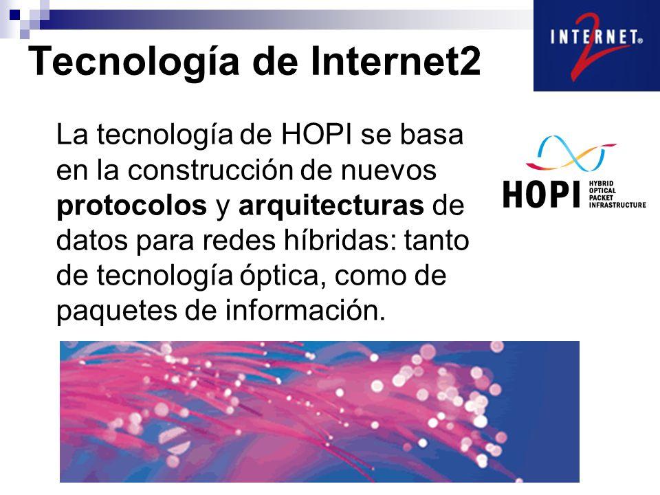 La tecnología de HOPI se basa en la construcción de nuevos protocolos y arquitecturas de datos para redes híbridas: tanto de tecnología óptica, como de paquetes de información.