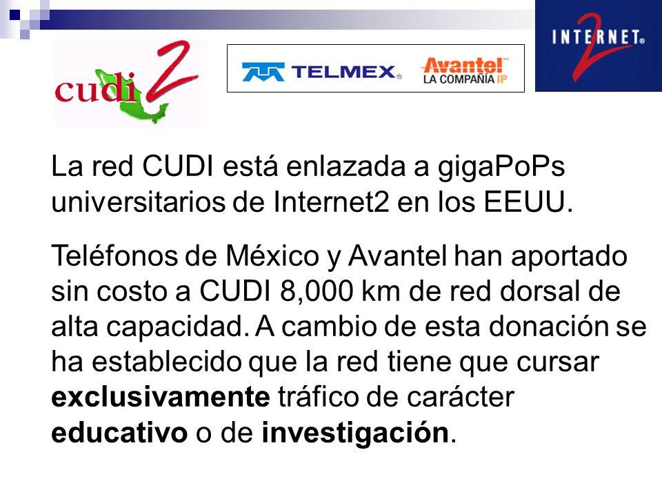 La red CUDI está enlazada a gigaPoPs universitarios de Internet2 en los EEUU. Teléfonos de México y Avantel han aportado sin costo a CUDI 8,000 km de