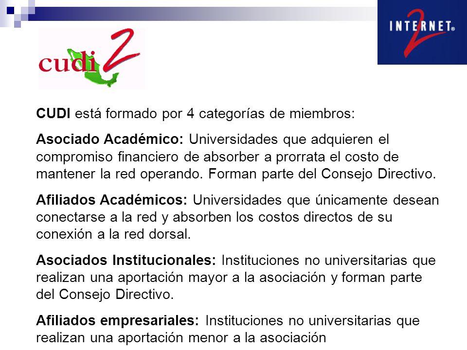 CUDI está formado por 4 categorías de miembros: Asociado Académico: Universidades que adquieren el compromiso financiero de absorber a prorrata el cos