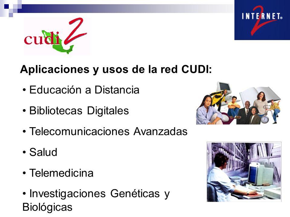 Aplicaciones y usos de la red CUDI: Educación a Distancia Bibliotecas Digitales Telecomunicaciones Avanzadas Salud Telemedicina Investigaciones Genéticas y Biológicas