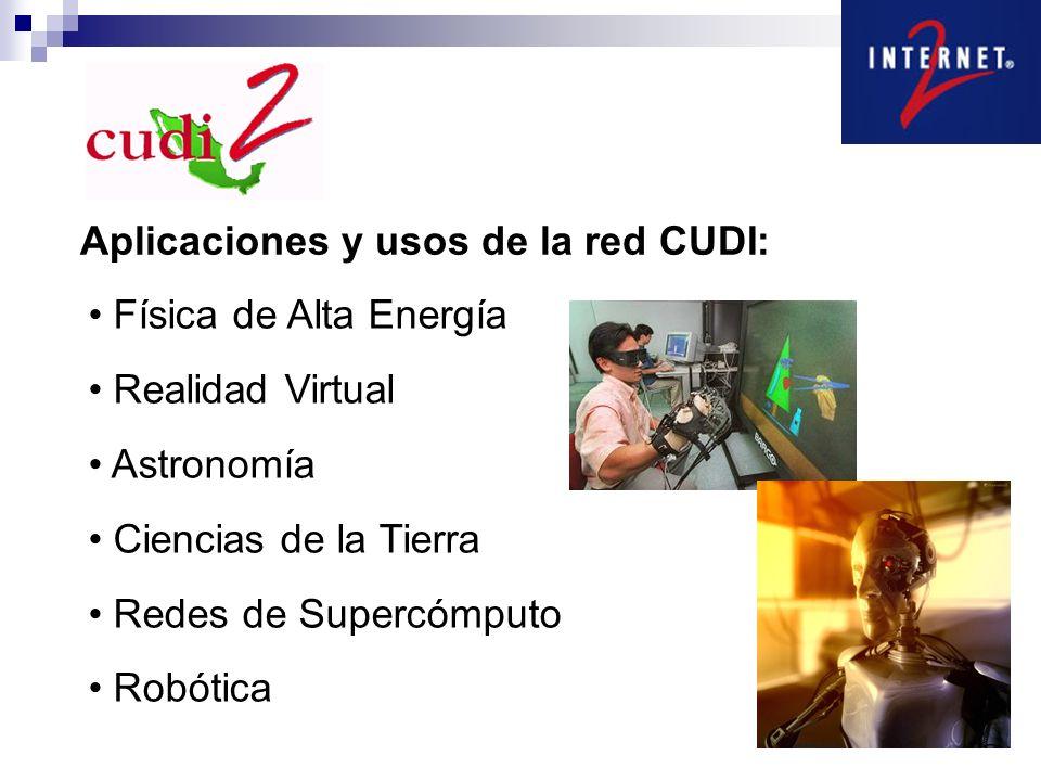 Aplicaciones y usos de la red CUDI: Física de Alta Energía Realidad Virtual Astronomía Ciencias de la Tierra Redes de Supercómputo Robótica