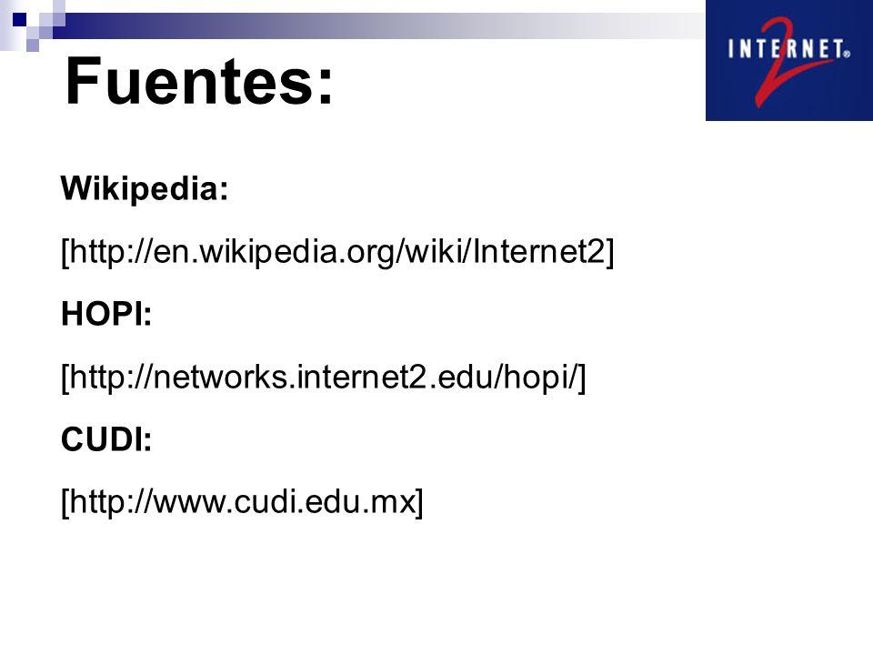 Fuentes: Wikipedia: [http://en.wikipedia.org/wiki/Internet2] HOPI: [http://networks.internet2.edu/hopi/] CUDI: [http://www.cudi.edu.mx]