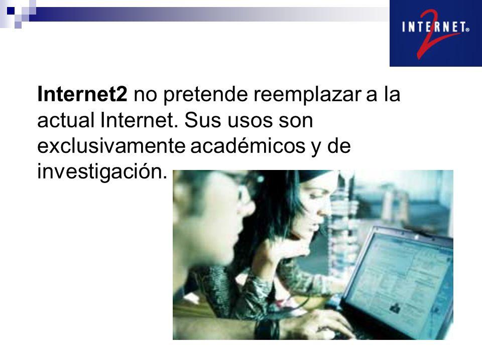 Internet2 no pretende reemplazar a la actual Internet. Sus usos son exclusivamente académicos y de investigación.