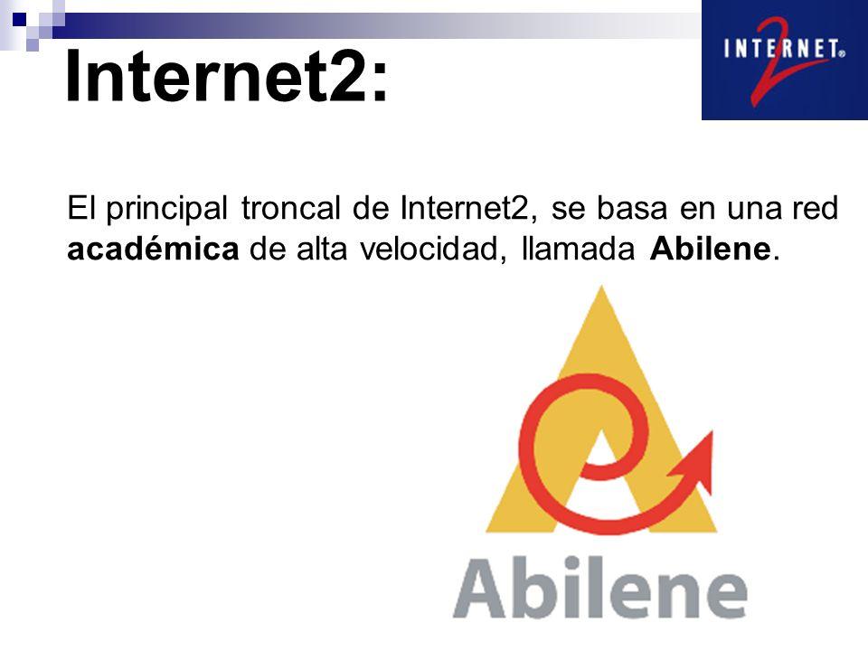 Backbone de la red CUDI Internet2: 10 Gb/s CUDI: 155 Mb/s Infinitum: 2 Mb/s Como referencia, Prodigy Infinitum ofrece servicios que van desde los 0.5 Mb/s, hasta los 2.0 Mb/s