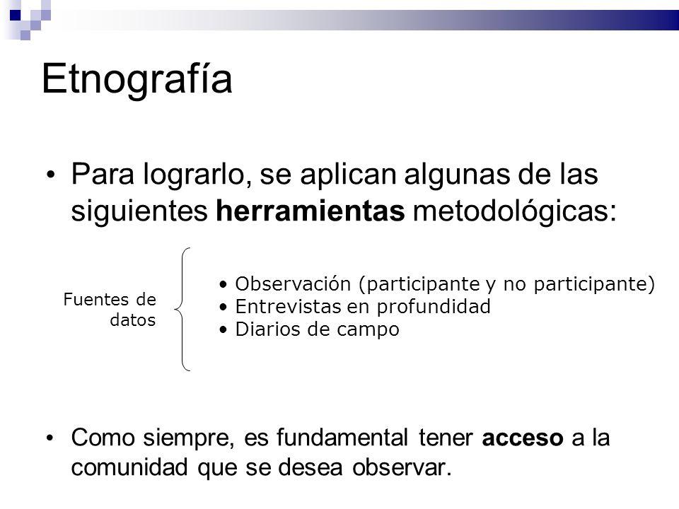 Etnografía Para lograrlo, se aplican algunas de las siguientes herramientas metodológicas: Como siempre, es fundamental tener acceso a la comunidad qu