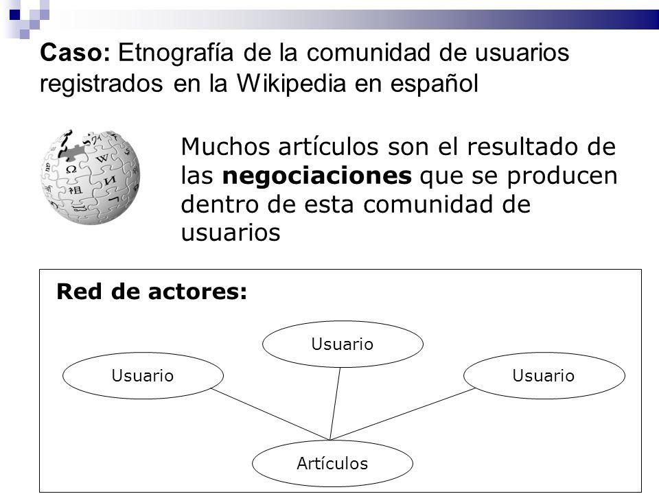 Caso: Etnografía de la comunidad de usuarios registrados en la Wikipedia en español Muchos artículos son el resultado de las negociaciones que se prod