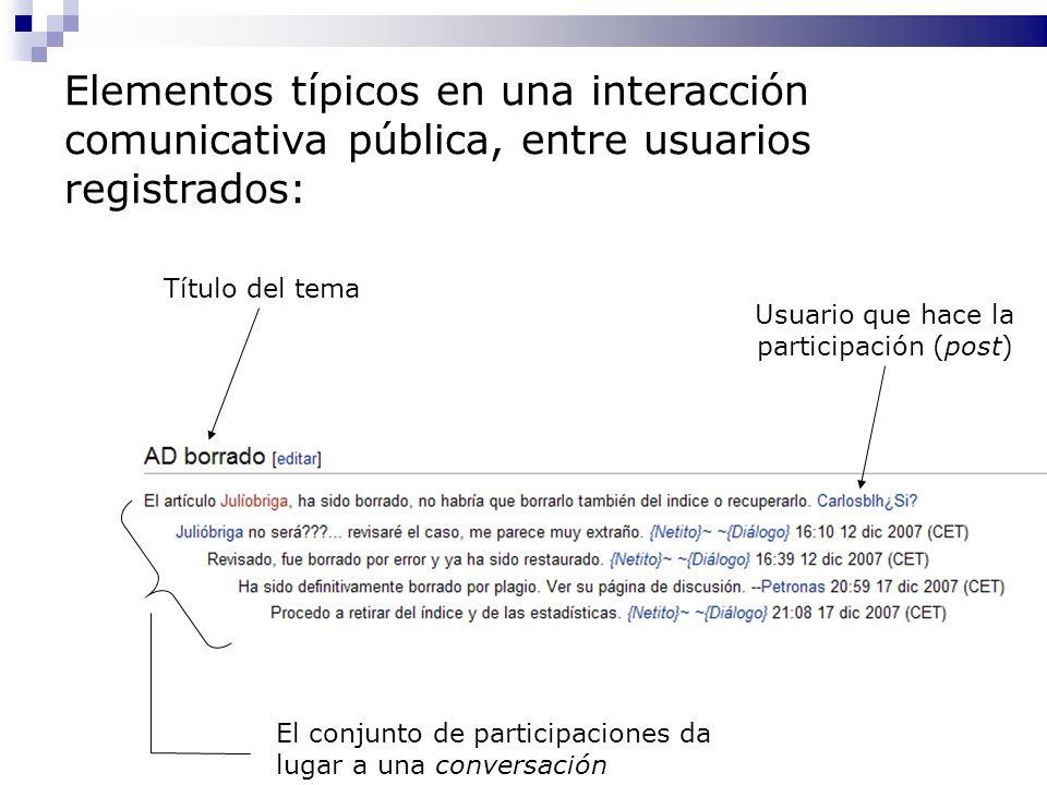Título del tema Usuario que hace la participación (post) El conjunto de participaciones da lugar a una conversación Elementos típicos en una interacci