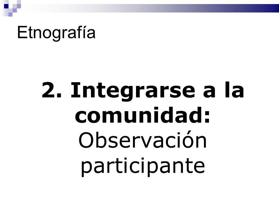 Etnografía 2. Integrarse a la comunidad: Observación participante