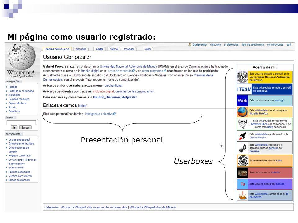 Mi página como usuario registrado: Presentación personal Userboxes