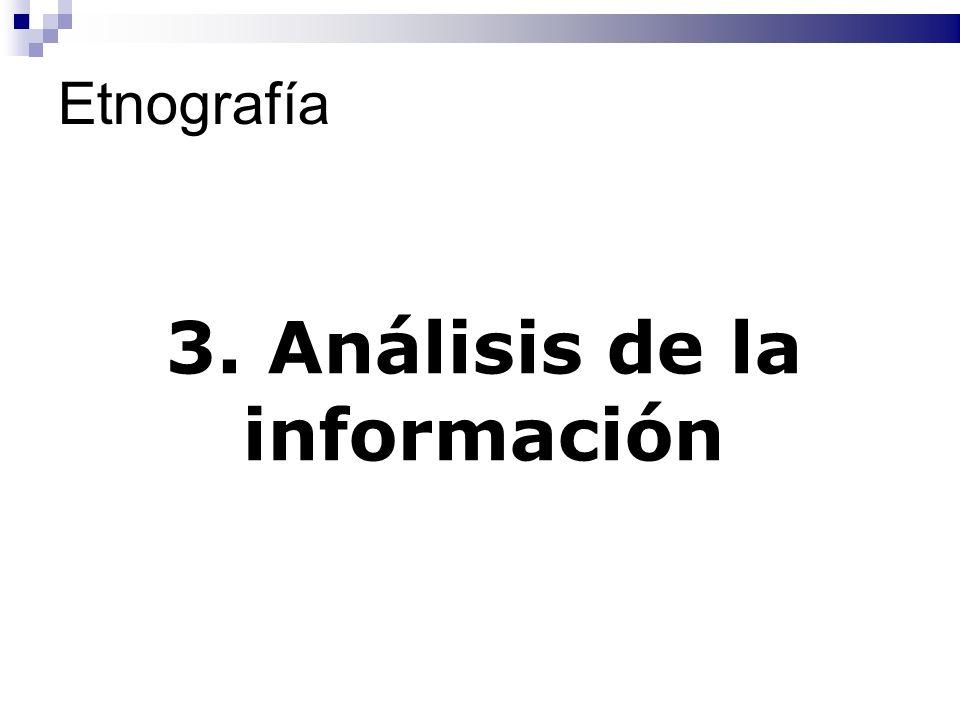 Etnografía 3. Análisis de la información
