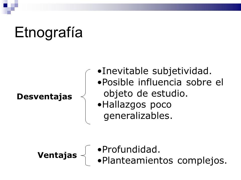 Etnografía Inevitable subjetividad. Posible influencia sobre el objeto de estudio. Hallazgos poco generalizables. Profundidad. Planteamientos complejo