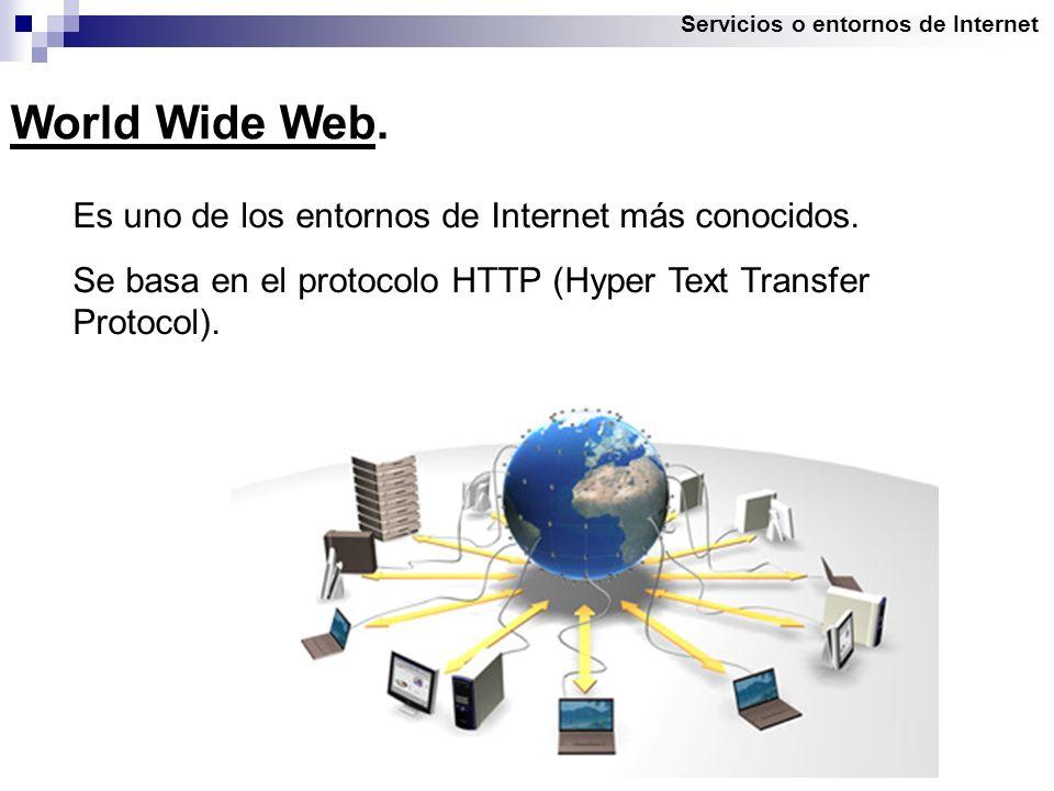 Servicios o entornos de Internet World Wide Web. Es uno de los entornos de Internet más conocidos.